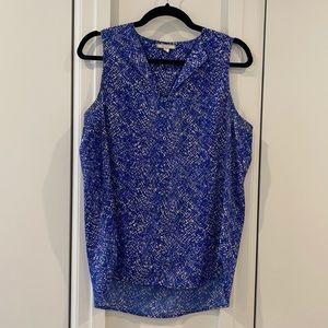 Blue Patterned Sleeveless Blouse
